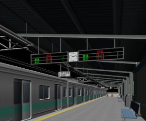 電車のホームのイラスト
