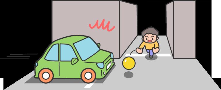 車が飛び出す四角