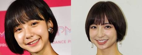 山之内すずと篠田麻里子が同じ黒髪で似ている写真