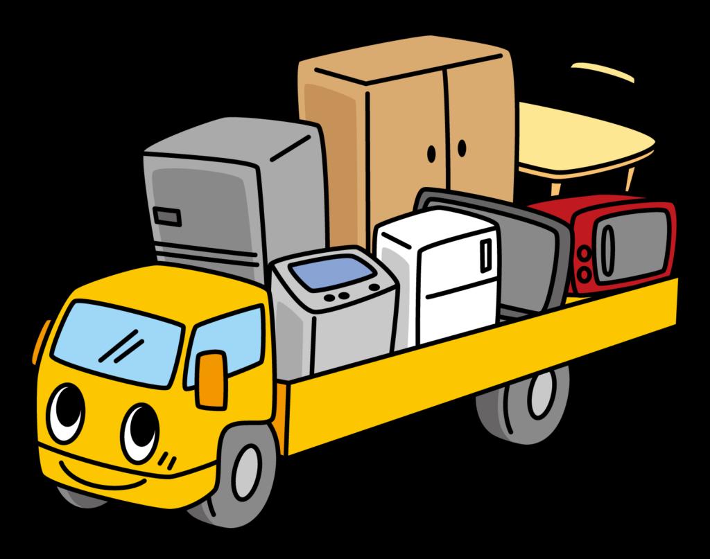 引っ越しでトラックに荷物を積んで運んでいるところ