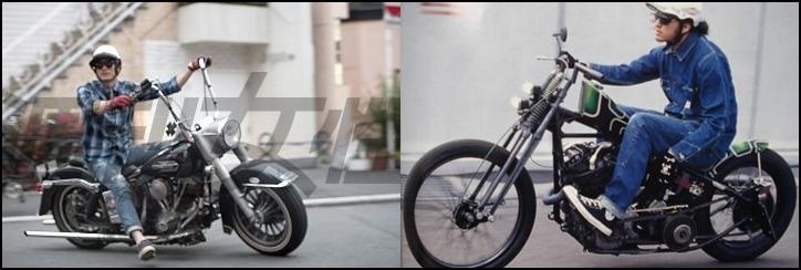 長瀬智也がバイクに乗っているところ