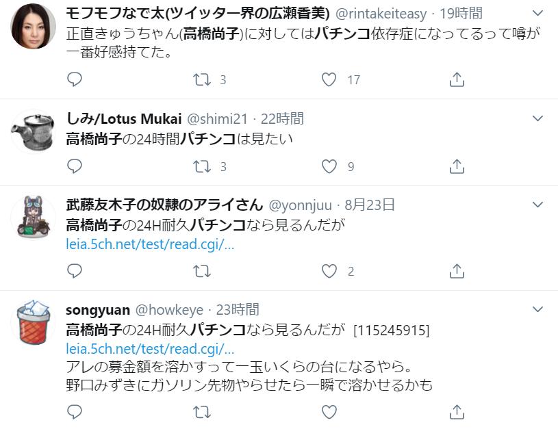 SNSでの高橋尚子さんのパチンコの疑惑