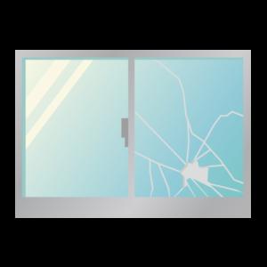 窓ガラスが割れている