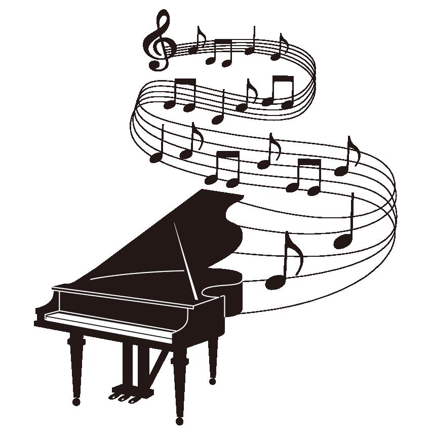 ピアノのイラストから音符が流れているところ