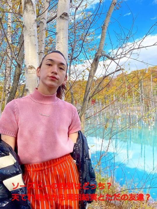 ソーズビーさんがきれいな景色の前での写真の中に文字として『ソーズビーの性別はどっち?天てれ時代から岡田結実とただの友達?』が書いています。