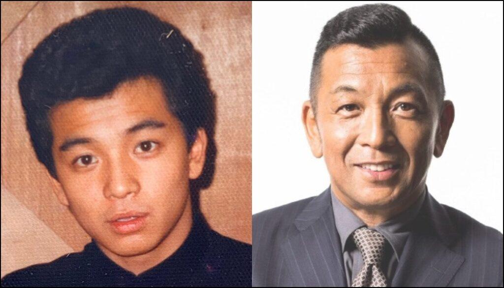 中野英雄さんの中学3年生の時の写真と今現在の写真を比べたもの