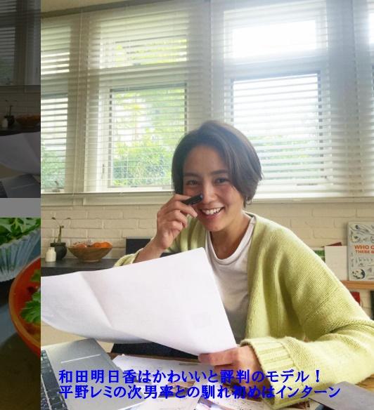 和田明日香が仕事をしてるところで画像の中に【和田明日香はかわいいと評判のモデル!平野レミの次男率との馴れ初めはインターン】と書かれています。