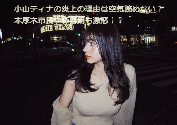 小山ティナさんのインスタの写真に『小山ティナの炎上の理由は空気読めない?本厚木市民や森喜朗も激怒!?』とかかれているものです。