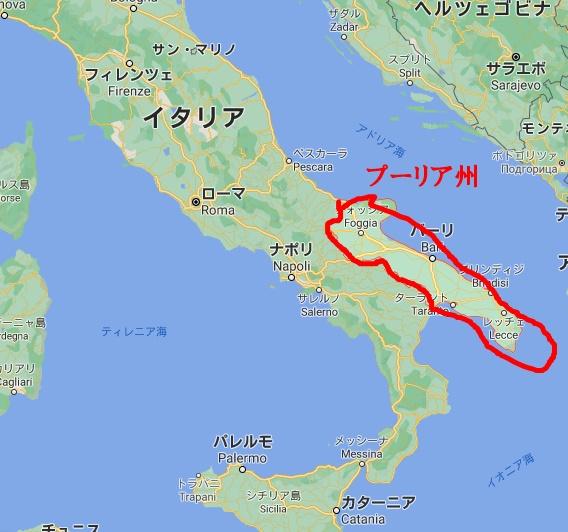 イタリアのプーリア州を示した地図